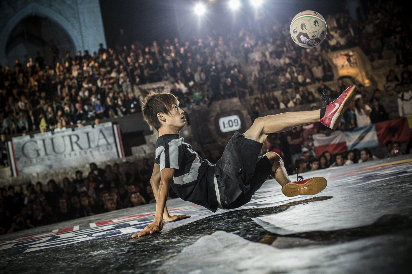 Kotaro Tokuda of Japan performs during the Red Bull Street Style World Final, Lecce, Italy on September 22nd 2012. // Romina Amato/Red Bull Content Pool // P-20120923-00054 // Usage for editorial use only // Please go to www.redbullcontentpool.com for further information. //